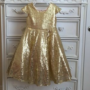 Other - LUXURY girls FULL Sequin Gold Dress pageant party